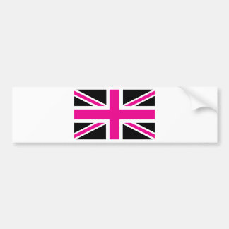 Black and Pink Classic Union Jack British(UK) Flag Bumper Sticker