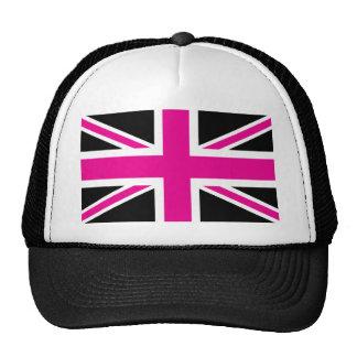 Black and Pink Classic Union Jack British(UK) Flag Trucker Hat
