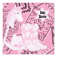 Black and Pink Cowgirl Baby Girl Shower Card