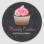 Black and Pink Cupcake Bakery Sticker