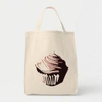 cupcake, dessert, sweet, vector, black, pink, Bag with custom graphic design