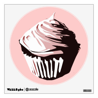 Black and pink cupcake wall decal