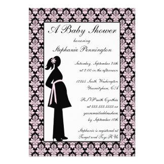 Black and pink damask baby girl shower invitation