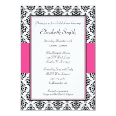 Black And Pink Damask Bridal Shower Invitation at Zazzle