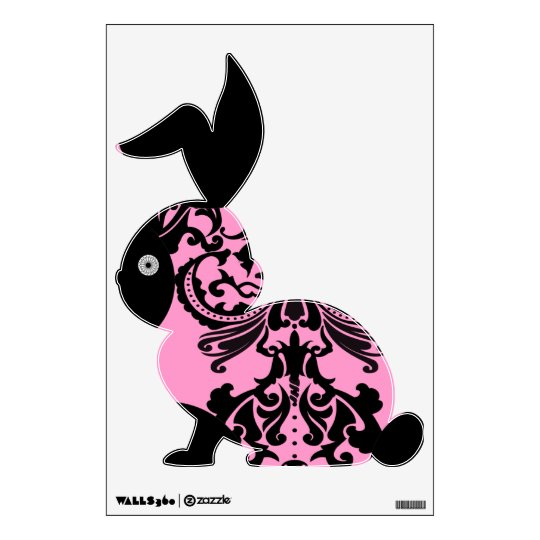 Black and Pink Damask Bunny Wall Decal