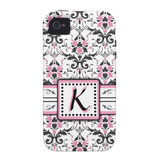Black and Pink Damask Monogram Case-Mate iPhone 4 Cover