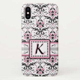 Black and Pink Damask Monogram iPhone X Case