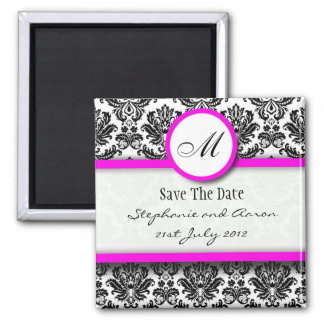 Black and Pink Damask Monogram Save The Date 2 Inch Square Magnet