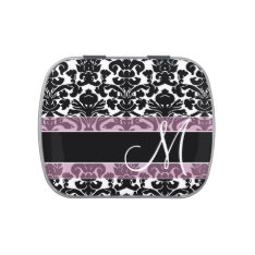 Black and Pink Damask Pattern with Monogram Candy Tin at Zazzle
