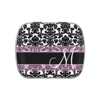 Black and Pink Damask Pattern with Monogram Candy Tin