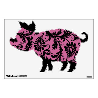 Black and Pink Damask Pig Wall Decal