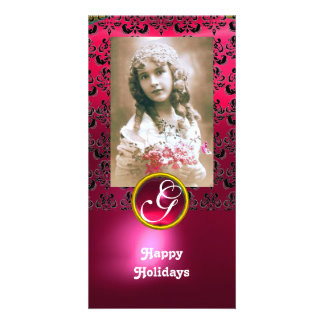 BLACK AND PINK DAMASK Red Ruby Monogram Customized Photo Card