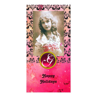 BLACK AND PINK DAMASK Red Ruby Monogram Photo Card Template