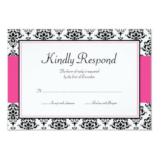 "Black and Pink Damask Response Card 3.5"" X 5"" Invitation Card"