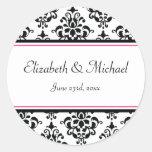 Black and Pink Damask Round Wedding Favor Label Classic Round Sticker