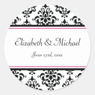 Black and Pink Damask Round Wedding Favor Label Round Sticker