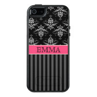 Black and Pink Damask Shabby, Personalized OtterBox iPhone 5/5s/SE Case
