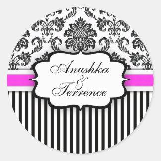 Black and Pink Damask Stripe Wedding Sticker