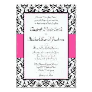 Black and Pink Damask Wedding Card