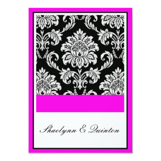 "Black and Pink Damask Wedding Invitation 5"" X 7"" Invitation Card"