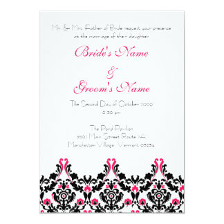 Black and Pink Damask Wedding Invitation