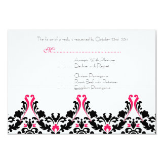 Black and Pink Damask Wedding Response Card Personalized Invite