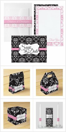 Black and Pink Damask Wedding Suite