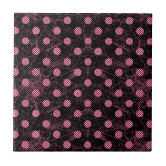 Black and pink distressed polka dot pattern tiles