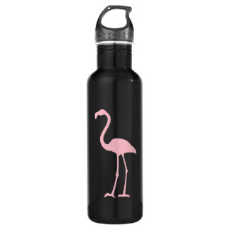 Black and Pink Flamingo Water Bottle