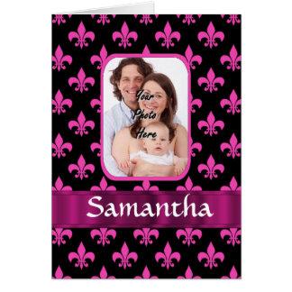 Black and pink fleur de lis card