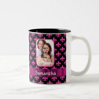 Black and pink fleur de lis Two-Tone coffee mug