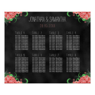 Black and Pink Floral 8 Table Seating Chart Poster