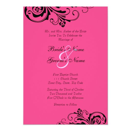 Black and Pink Floral Chic Wedding Invitation