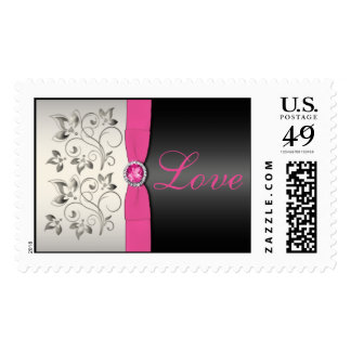 Black and Pink Floral Postage Stamp (Large)
