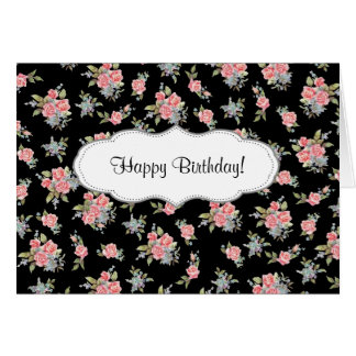 Black and Pink Floral Rose Happy Birthday Card