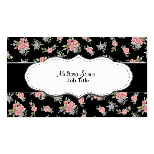 Black and Pink Floral Rose pattern Business Card