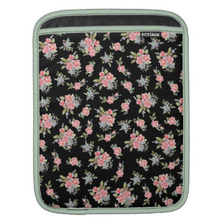 Black and Pink Floral Rose pattern iPad Sleeve
