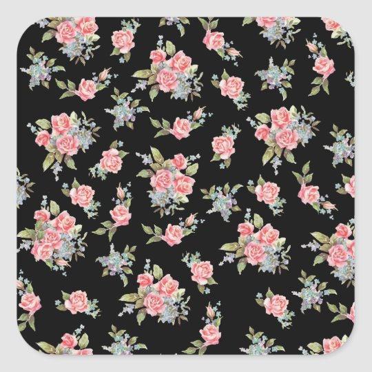 Black and Pink Floral Rose pattern Square Sticker
