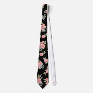 Black and Pink Floral Rose pattern Tie