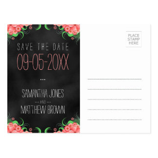 Black and Pink Floral Save The Date Postcards