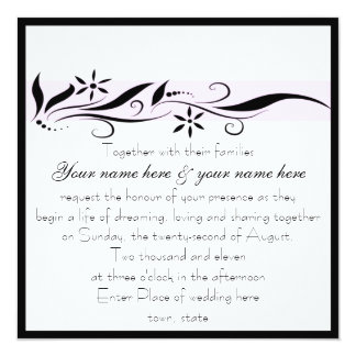 Black and Pink floral square wedding invitation