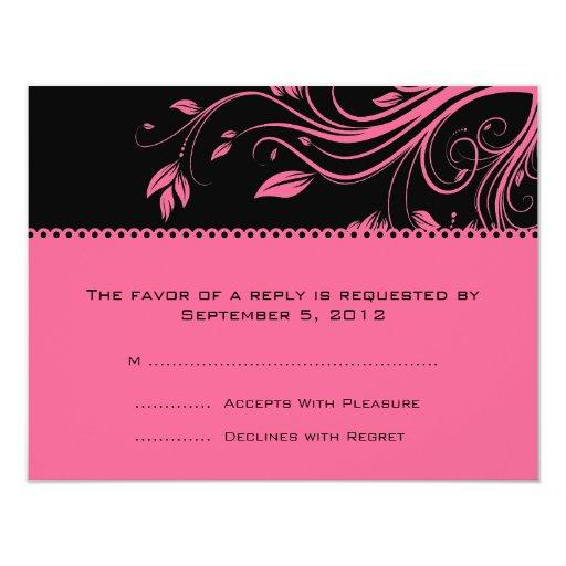 Black and Pink Floral Swirls Wedding RSVP Card