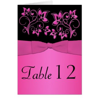 Black and Pink Floral Table Number Card card