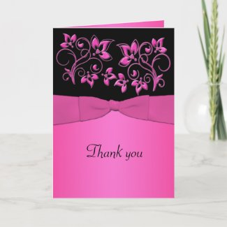 Black and Pink Floral Thank You Card card