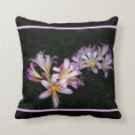 Black and Pink Floral Throw Pillow Pillows