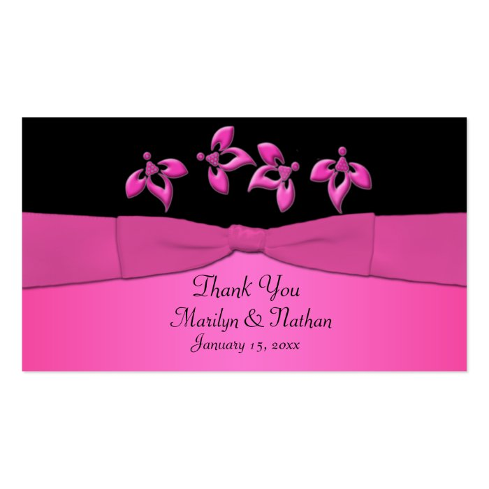 Black and Pink Floral Wedding Favor Tag Business Card