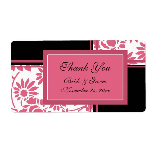 Black and Pink Floral Wedding Labels