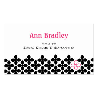 Black and Pink Flower Mom Calling Card Business Card