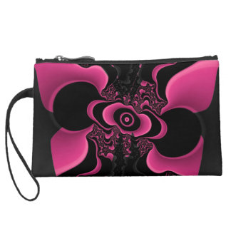 black and pink fractal butterfly coin purse