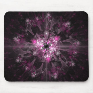 Black And Pink Fractal Mouse Pad